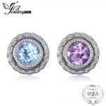 JewelryPalace Fashion 5.7ct Round Purple Amethyst Sky Blue Topaz Stud Earrings Jacket Set 100% 925 <b>Sterling</b> <b>Silver</b> Women <b>Jewelry</b>