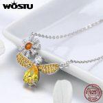 WOSTU <b>Jewelry</b> <b>Making</b> 925 Sterling Silver Daisy with Bee Yellow CZ Pendant Necklace For Women 925 <b>Jewelry</b> Fashion Gift FIN242