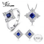 JewelryPalace Octagonal 1.7ct Created Blue Sapphire Pendant Necklace Stud <b>Earrings</b> Ring 925 Sterling <b>Silver</b> Fine Jewelry Sets