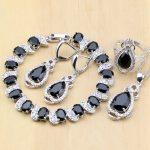 925 Silver Bridal <b>Jewelry</b> Black Zircon White CZ <b>Jewelry</b> Sets For Women <b>Wedding</b> Earrings/Pendant/Necklace/Rings/Bracelet