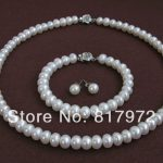 Classic Flower Natural Pearl AAA 7-8mm highlight Fashion pearl <b>Handmade</b> Necklaces Bracelet Earring Set Freshwater Pearl ewelry