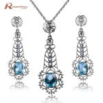 Fashion Elegant Natural Pearl Women Jewelry Sets Luxury Blue Stone Crystal 925 Sterling <b>Silver</b> Pendant+<b>Earrings</b> Pearl Jewelry