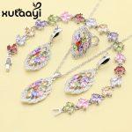 XUTAAYI 4PCS 925 Silver <b>Jewelry</b> Set Flower Alluring Multicolor Zircon Earrings Ring <b>Necklace</b> Pendant Bracelet Christmas Gift