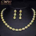 CWWZircons Trendy Dazzling Yellow Water Drop Cubic Zirconia Big Choker <b>Necklace</b> And Earring Set For Bridal Wedding <b>Jewelry</b> T133