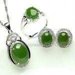 Beautiful 925 <b>Silver</b> Natural Green HeTian Jade Round Beads Dangle Lucky Pendant Neckl;ace <b>Earring</b> Ring Fine Jewelry Set Gift