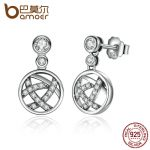 BAMOER Exclusive Design Round Shape 100% 925 Sterling Silver Openwork Femme Drop Earrings Fine <b>Jewelry</b> SCE013