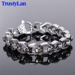 TrustyLan Stainless Steel Men's Bracelets Punk & Hippe's Skull Chain Bracelet Armband Masculine <b>Jewelry</b> Halloween <b>Accessories</b>