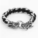 2016 Black Rock Punk Double Dragon Leather Bracelet Wide <b>Handmade</b> Braided Cuff Bracelets&Bangles Men Fashion <b>Jewelry</b> Wristband