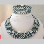 Classic Black Freshwater Pearl Necklace <b>Bracelet</b> Set AA 3-5MM Fashion Jewelry Pearl Jewelery Set Hot Sale New Free Shipping