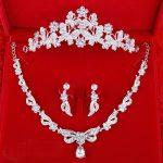 3pcs Set Corolla Crown Tiara Bridal Necklace Earrings Sparkling Rhinestone <b>Handmade</b> Wedding <b>Jewelry</b> Set Ornament Parting Gifts