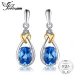 JewelryPalace Love Knot 1.9ct Natural Blue Topaz Diamond Accented 925 Sterling <b>Silver</b> 18K Gold Dangle <b>Earrings</b> Fine Jewelry