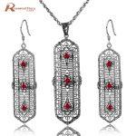 Luxury New Red Stone Jewelry Sets Vintage 925 Sterling <b>Silver</b> Color Rhinestone Pendant <b>Earrings</b> Jewellery Parure Bijoux Femme