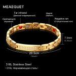 Meaeguet Women's Cubic Zirconia Bio Magnetic Bracelet & Bangle Gold-color Powerful Health Magnet Alert Bracelets <b>Jewelry</b>