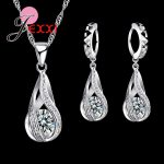 JEXXI 925 Sterling Silver Necklace Pendant Earrings <b>Fashion</b> Spiral Shaped White Crystal <b>Jewelry</b> Sets For Wholesale