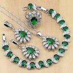 925 <b>Silver</b> Jewelry Green Cubic Zirconia White Crystal Jewelry Sets For Women Earrings/Pendant/Necklace/Rings/<b>Bracelet</b>