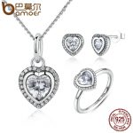 BAMOER 925 Sterling Silver <b>Jewelry</b> Set Sparkling Love Heart <b>Jewelry</b> Sets Wedding Engagement <b>Jewelry</b> Mother's Day Gift ZHS009