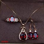 KJJEAXCMY boutique jewels 925 Pure <b>silver</b> inlaid with natural pomegranate stone necklace pendant ring <b>earrings</b> 3 pieces