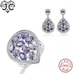 J.C Women Engagement Jewelry Girl Delicate Rainbow Topaz Ring & <b>Earring</b> Genuine Solid 925 Standard Sterling <b>Silver</b> Jewelry Set