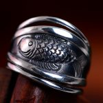 925 pure silver <b>jewelry</b> Retro adjustable small fish <b>handmade</b> after year silver ring