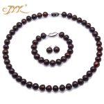 JYX Pearl Jewelry Set-Big Size 10.5-11.5mm Flat Coffee Freshwater Pearl Necklace 925 Sterling <b>Silver</b> <b>Earrings</b> Bracelet 19″/7.5″