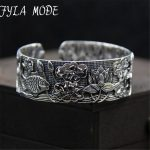 Fyla Mode Vintage Bohemia 925 <b>Silver</b> Open Wide Cut Out Lotus Fish Flower Carved Cuff Bangle Adjustable Fashion Jewerly For Women