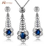 Trendy Natural Pearl Jewelry Blue Rhinestone Solid 925 Sterling <b>Silver</b> Jewelry Sets Wedding Jewelry for Brides Pendant&<b>Earrings</b>