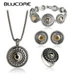 Blucome Vintage Turkish <b>Jewelry</b> Sets Round Abalone Shell Pendant <b>Necklace</b> Earrings Ring Bracelet Set For Women Lady Party Gifts