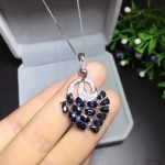 trendy luxurious grace Peacock natural blue sapphire pendant S925 <b>silver</b> Natural gemstone Pendant Necklace women party <b>jewelry</b>