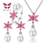 HENGSHENG 100% Real Natural Freshwater Pearl Pendant&<b>Earrings</b>&Rings Sets For Women, 9-10mm Water Drop Pearl Jewelry Sets