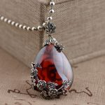 FNJ 925 Silver Flower Pendant 100% Pure S925 Solid Thai Silver Synthetic Red Cubic Pendants for Women <b>Jewelry</b> <b>Making</b>