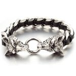 NIENDO Promotion Double Wolf Head Animal Silver Color Bracelet High Quality Stainless Steel Men <b>Jewelry</b> Party Gift DB971