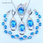 L&B Big Round 925 Sterling <b>Silver</b> Sky Blue Cubic Zirconia <b>Bracelets</b> Jewelry Sets Women Pendant Necklace Rings Drop Earrings