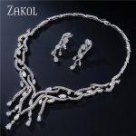 ZAKOL Classic Luxury AAA+ Water Drop CZ Zirconia <b>Jewelry</b> Sets For Elegant Women Vintage Sliver Color Bridal <b>Jewelry</b> Sets FSSP188