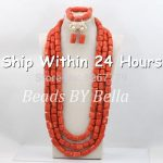 Red Long African Coral Beads <b>Jewelry</b> Set Nigerian Beads Necklaces Statement Necklace African <b>Jewelry</b> Beads Free Shipping ABC421