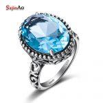 Szjinao Custom 925 sterling silver Ring Fashion <b>Handmade</b> Roman Style 925 Sterling Silver Sky Blue Stone Aquamarine Fine <b>Jewelry</b>