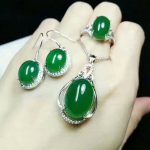 Yu Xin Yuan Fine Jewelry 925 Mosaic Natural Chalcedony Pendant Ring And <b>Earring</b> Three-piece Suit Distribution Chain