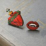 Vintage Wooden Red Heart Punk Blood Vampire Brooch Handmade Gothic Lapel Pin Victorian Gift Handmade Unique <b>Jewelry</b> <b>Accessories</b>