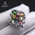 TBJ,natural tourmaline gemstone ring in 925 sterling <b>silver</b> colorful precious stone <b>jewelry</b> for women mom girl as birthdays gift
