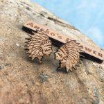 <b>American</b> Indian Wood Earrings Red Indian Wooden Stud <b>American</b> Tribal <b>Jewelry</b> <b>Native</b> <b>American</b> Wooden Earring X 1 Pair