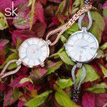 Luxury Rose Golden Womens Watches Crystal <b>Bracelet</b> Steel Ladies Elegant Wrist Watch SK <b>Silver</b> Quartz Clock Feminino Reloj Mujer
