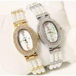2017 Arrival Bling Pearl Watch Women Luxury Austrian Crystals <b>Silver</b> Watch Shinning Diamond Rhinestone Bangle <b>Bracelet</b>