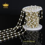 5 Meter Wholesale <b>Fashion</b> Wire Wrapped Rosary Chain,4mm Smooth Round White Pearl Beaded Chain Necklace Bracelet <b>Jewelry</b> LS-41