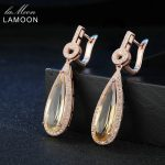 Lamoon Luxury Gemstone Natural Citrine 925 Sterling <b>Silver</b> Drop <b>Earrings</b> S925 Fine Jewelry Rose Gold Plated For Women LMEI024
