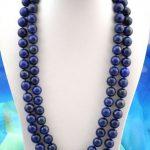 Free shipping >>50″10mm round blue Lapis Lazuli pendant <b>necklace</b>