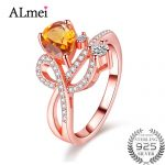 Almei 1.3ct Citrine <b>Silver</b> 925 Costume Zircon <b>Jewelry</b> Rose Gold Color Rings for Women Ringen Anillos Mujer with Box 40% FJ006