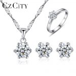 CZCITY Brand Classic Clear Cubic Zirconia Bridal Wedding Jewelry Sets <b>Silver</b> 925 Women Sterling <b>Silver</b> Jewelry Accessories Sets