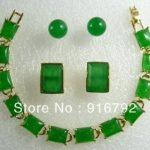 Prett Lovely Women's Wedding Wholesale Charming Green gem pendant bracelet earring Cufflinks set silver-<b>jewelry</b> mujer moda