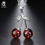 ORSA JEWELS 925 Sterling Silver Red Natural Stone Cherry Pendant Necklaces for Women Genuine Silver <b>Jewelry</b> Necklace Gift SN03
