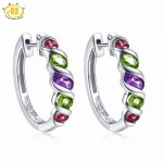 Hutang Multi Stone Jewelry <b>Earrings</b> Natural Gemstone Amethyst Peridot Garnet Solid 925 Sterling <b>Silver</b> Fine Jewelry For Women