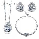 BRAVKIS bridal <b>necklace</b> earrings bracelet set wedding crystal water drop <b>jewelry</b> sets pendant set <b>necklaces</b> earring set BS001